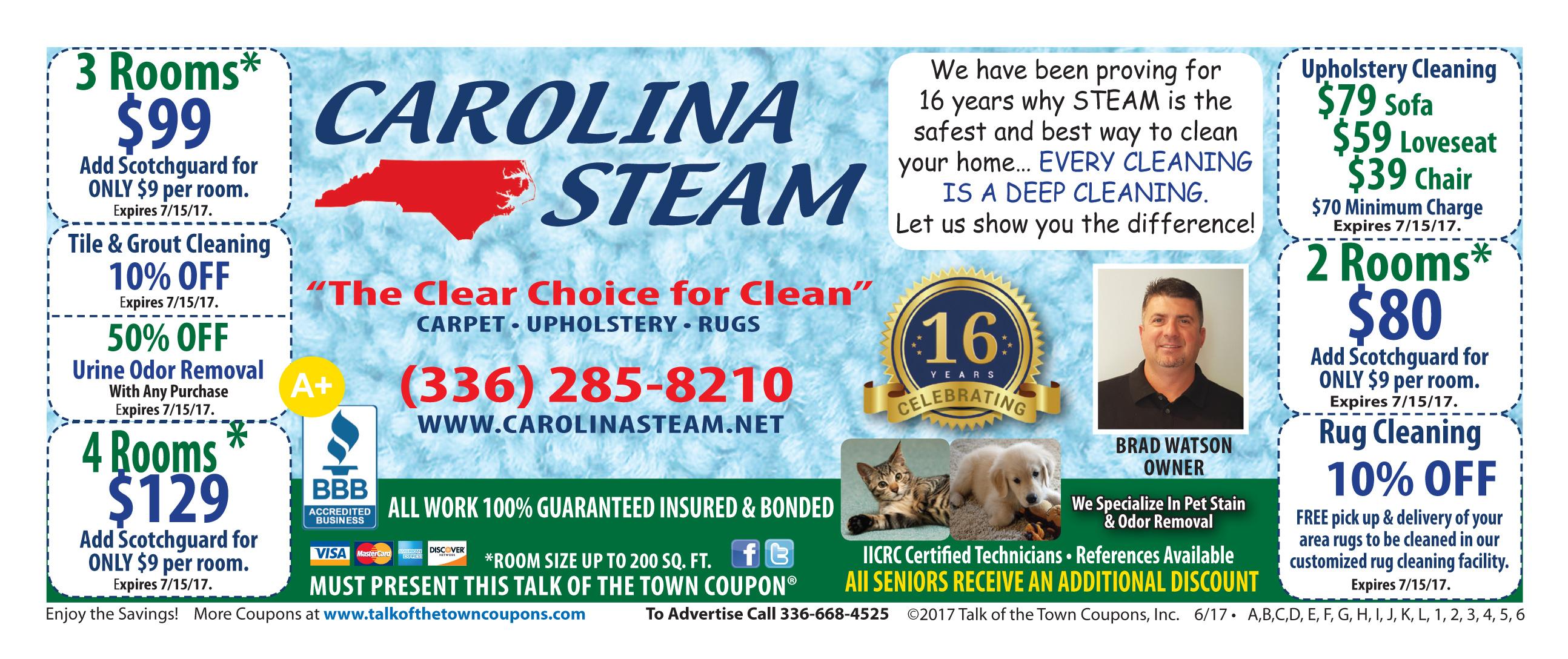Carolina Steam Booklet Offer Coupon image