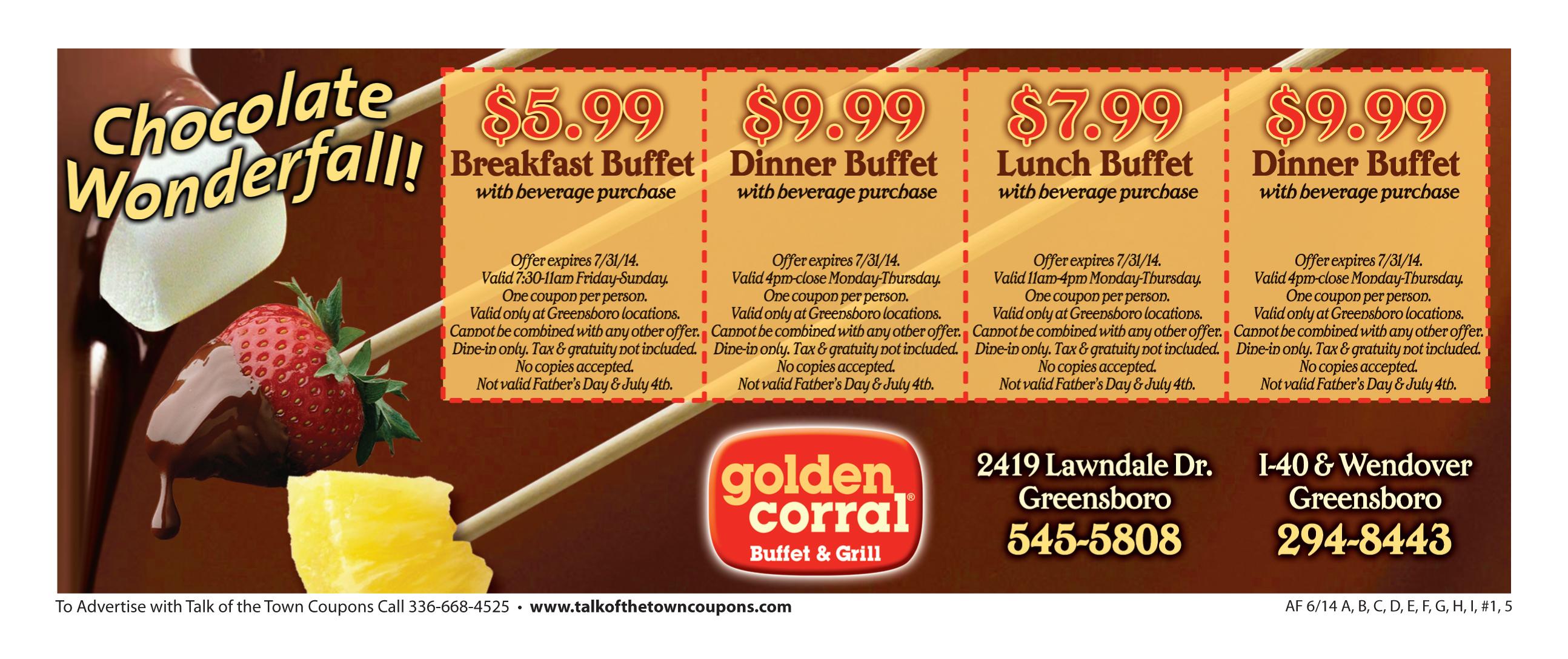 Golden Corral Booklet Offer Image